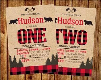 """Lumberjack Birthday Invitation, Lumberjack first birthday invitation, 5""""x7"""" printable invite, Buffalo Plaid Invitation, Digital File. L001"""