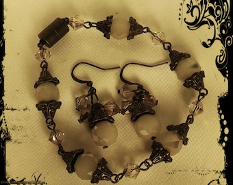 Vintage Antique Brass Swarovski Crystal Bracelet and Earring Set