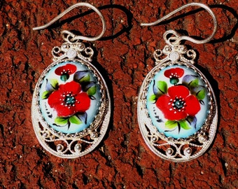 Russian Rostov Finift Earrings hand painted. Blue-red floral.