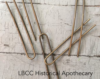 """4"""" Extra Large Curved Brass Hair Fork - Hair Pin For Historical Hairdressing False Hair Pads - For Heavy Thick Hair"""