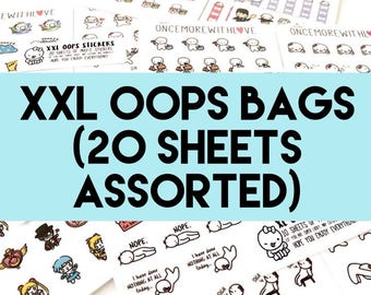 XXL Oops Bags - 20 Sheets of Assorted Planner Stickers! (XXL - 20)