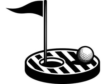 Golf Flag Hole #2 Golfer Golfing Clubs Sports Course Cart Ball Green Game .SVG .EPS .PNG Instant Digital Clipart Vector Cricut Cut Cutting