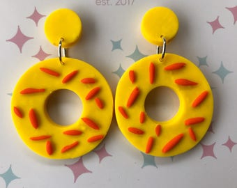 Pizza Party Yellow Circle Dangle Earrings