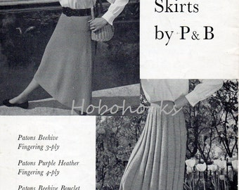 Womens skirt knitting pattern pdf download vintage 1950s a line pleats 36-38inch hips 3 Ply 4 Ply boucle DK PDF instant download