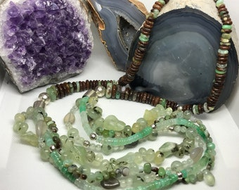 Chrysoprase, Prehnite, and Sterling Necklace