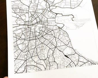 DUBLIN Map Street Map IRELAND City Map Drawing Black and White (Art Print) Wedding Anniversary Gift Wall Decor