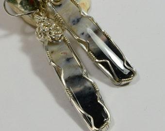 Handmade wire wrapped Earrings Agate Jewelry Sterling Silver Earrings Long Earrings