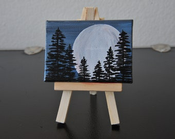 "2.5""x3.5"" Painting on Stretched Canvas - Full Moon Behind Tree Silhouettes"