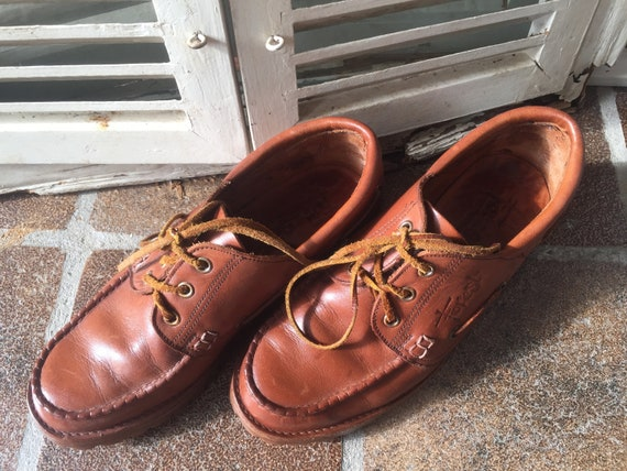 moccasins shoes 40 made EU lace Holland lace up shoes 7 up UK Vintage Leather unisex FOREST in boat size qxRp8B