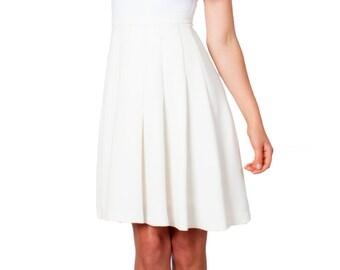 SALE - Ivory Skirt, Off White, Beige, White, Pleats, High Waist, Work Skirt, Office Skirt, Summer Skirt, Dress Skirt, Swing Skirt