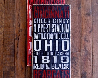 University of Cincinnati Bearcats Distressed Wood Sign--Great Father's Day Gift!