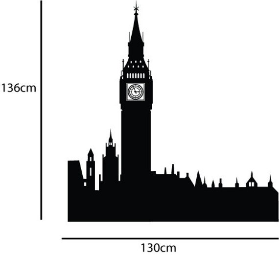 XL Big Ben Wall Decal London Skyline Peter Pan Childrens Mural Sticker Transfer K007