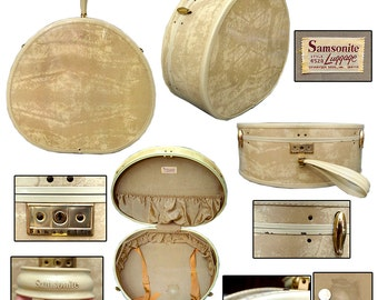 Vintage Round Samsonite Suitcase / Pin-up Luggage / Rockabilly Suitcase / 50s Luggage