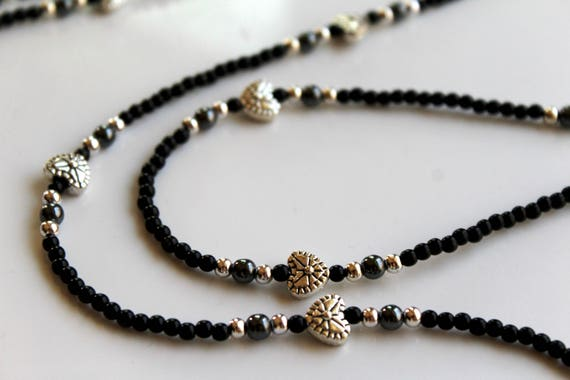 Eyeglass Chain, Black and Silver Minimalist Accessory with Small Hearts, Beaded Glasses Chain