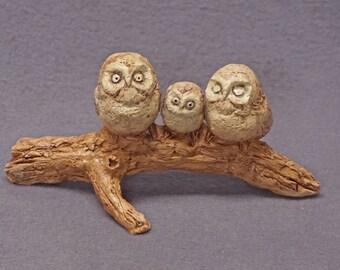 Handmade Ceramic Owl Family on a Log, Ceramic Bird Sculpture, Bird Figurine, Ceramic Art