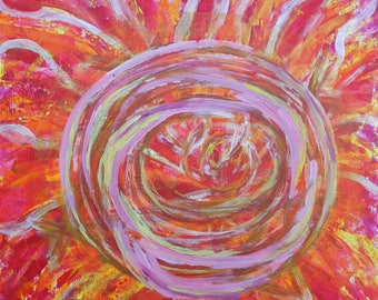 Contemporary abstract painting titled pulse in red