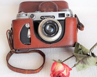 Zorki 6  Russian 35mm rangefinder camera Soviet Leica Copy Camera with lens Industar 50 with leather case and shoulder strap