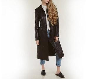 SHE TIGER is back! long leather DKNY jacket / vtg 90s / soft lamb leather / rare minimal designer duster