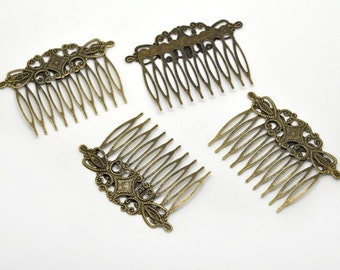 1pcs / 10pcs WHOLESALE Hair Comb Supply - Blank Hair Clips - Filigree Hair Comb Antique Bronze Hair Comb - Vintage DIY Hair Supply