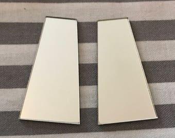 2 pairs 12x20x38mm trapezoid acrylic mirror Native Beadwork