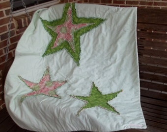 Green Star Gingham Baby Quilt
