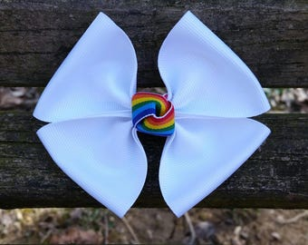 White Rainbow Hair Bow (4 inch)