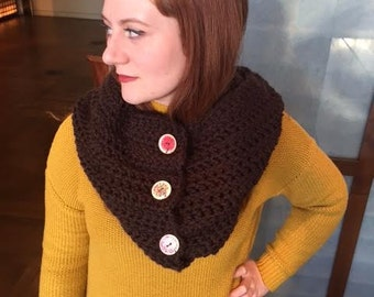Chunky Crochet Cowl with Tree Buttons