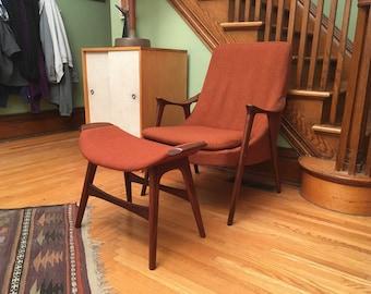 Mid Century Danish Modern Lounge Chair and Ottoman in Orange
