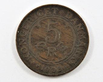 Denmark 1908 V B P G J Bronze 5 Ore Coin.