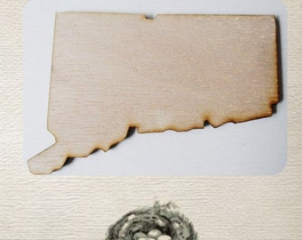 Connecticut State (Medium) Wood Cut Out - Laser Cut
