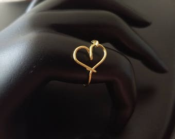 Dainty Valentines heart ring Gold Rose Gold or Silver Adjustable Tie the knot ring bridesmaid wedding anniversary ring gift minimalist