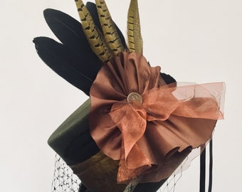 Steampunk Neo Victorian green and copper wedding hat