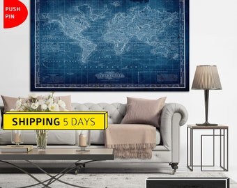 World map canvas etsy classic world map map of the world blue world map world map print gumiabroncs Image collections