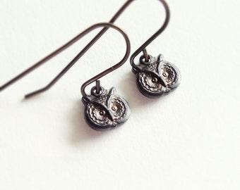Tiny Owl Earrings Tiny Earrings Antiqued Black Brass Owl Earrings Tiny Jewelry Woodland