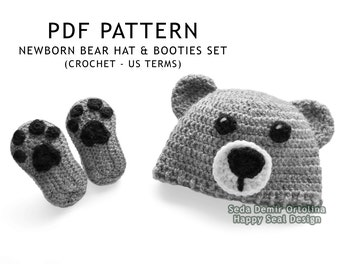 PATTERN ONLY - Crochet Newborn Bear Hat and Booties Set - Baby Pattern - Crochet Bear Hat Pattern - Baby Bear Hat - Crochet Baby Hat Pattern