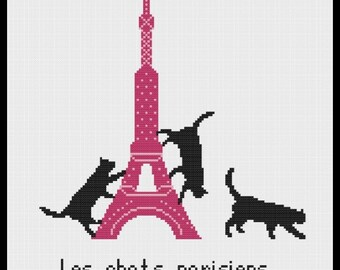Eiffel Tower with Black Cats Modern Cross Stitch Pattern PDF Chart Tour Eiffel Paris Black Silhouette