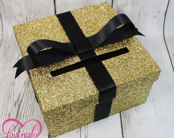Card holder box gift money box for any event cardbox glitter gold and black gift money box for any event baby shower bookmarktalkfo