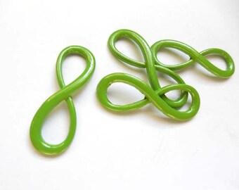 4 Green Infinity Symbol Connectors - 3-38