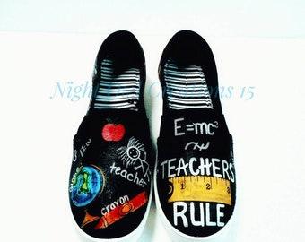 "Teacher Shoes; ""School"" Shoes; Hand-painted Shoes; Chalkboard Shoes;"
