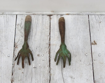 Pair of Vintage Garden Trowels Old Hand Tools