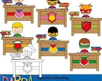 Superhero reading clipart - sit and read clip art - school classroom desk clipart - commercial use, digital image, instant download