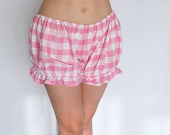 Cute Gingham Bloomers - Adult Bloomers - DDlg - DDlg Panties - Adult Baby - Baby Pink Gingham - Sissy Lingerie - Sissy Boy - Low Rise