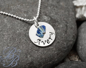 Personalized Jewlery - Hand Stamped Jewelry - Mothers Necklace - Birthstone Necklace