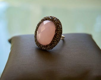 Pink Quartz Gemstone Ring