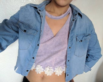 Denim jacket , crop jacket , ladies crop jacket, women's Denim jacket , summer jacket, women's jacket, re worked jacket, festival jacket