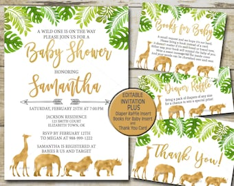 Gold Safari Baby Shower Invitation kit, Editable invite template Book for Baby, Diaper Raffle & Thank You, Greenery Jungle Baby Shower P33