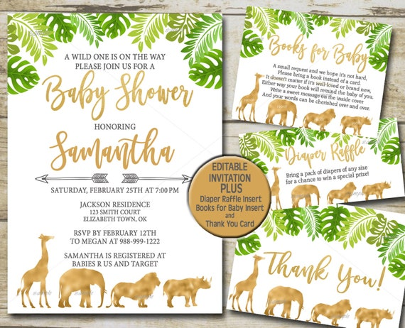 Gold Safari Baby Shower Invitation kit Editable invite