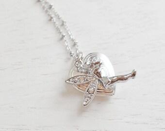 Fairy Locket Necklace,Silver Locket Jewelry,Keepsake,Birthday Gift,Rhinestone Fairy Heart Locket,Dainty Locket,Bridesmaid,Daughter,Magic
