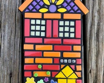 House Plaque, House Wall Hanging, Housewarming Gift, Mixed Media House, Welcome Gift, New Home, Cottage Plaque, House with Flowers