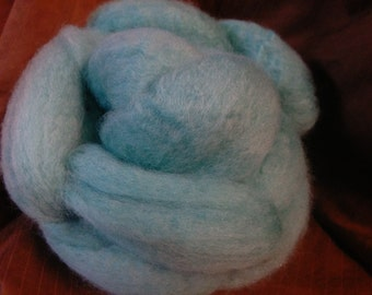 4 oz.  Bluefaced Leicester (BFL) wool roving; Aqua